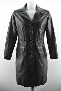 Black S Sleeve Long Coat Jacket Leather Collared Real Size Womens Noa xYvwRqgp1n