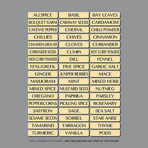 51 x Spice/HERB Jarre Étiquettes Autocollants Decals - 10 mm x 48 mm
