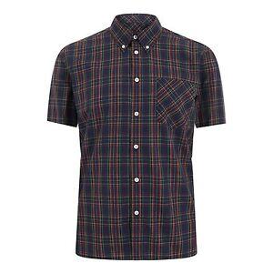 Hombre-Merc-Londres-con-Botones-Camisa-de-Cuadros-Mack-Azul-Marino