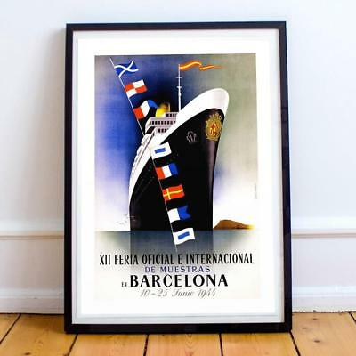 """24x36 /""""Barcelona Exposition 1929/"""" Classic Vintage Syle Spain Travel Poster"""