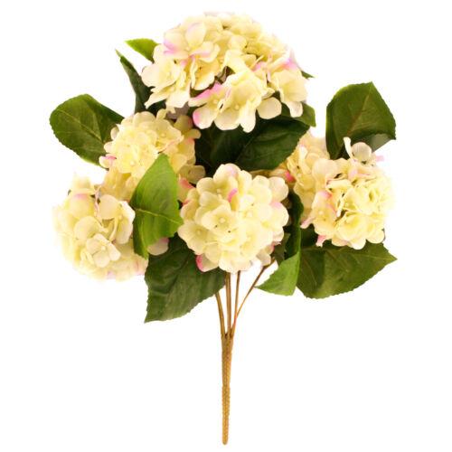 Kunstseide creme Hortensie Bush mit rosa Absätze 42cm für Hochzeits Blumen