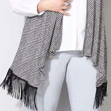 $50 NWT AVENUE Chevon knit Fringe trim blouse vest 2X 18/20 black white top