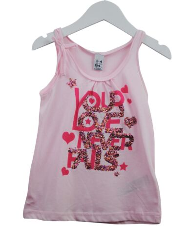 Girls Ex Zara Vest Tank Top Glitter Love Print Pink Age 2 to 14 Years Kids