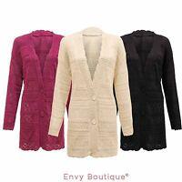 LADIES WOMENS BUTTON KNITTED LONG BOYFRIEND CROCHET CARDIGAN DRESS TOP PLUS SIZE