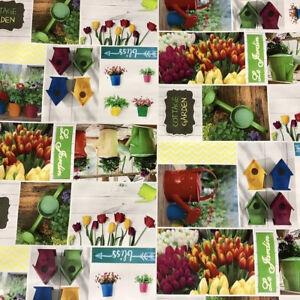 Details Sur Nappe De Table En Toile Ciree Jardin Tulipes Maison D Oiseau B5005 01 Carre Rond