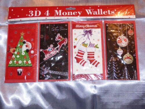 CHRISTMAS MONEY WALLETS PACK OF 4 GIFT CARD CASH CHILDREN ADULT ART DECO VINTAGE
