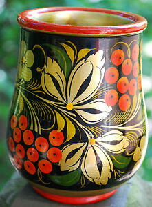 Vtg Russian Hand Painted GOLD W BERRIES Wood KHOKHLOMA Lacquer Vase Jar