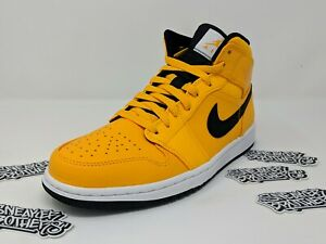 327a9c1bfdb748 Nike Air Jordan Retro I 1 Mid Taxi University Gold Yellow Black ...