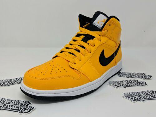 Nike Air Jordan Retro I 1 Mid Taxi University Gold Yellow Black White 554724-700