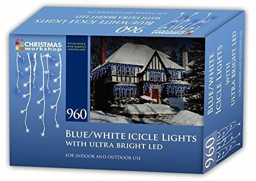 Christmas Workshop Blue And White LED Icicle Chaser Xmas Lights Indoor /& Outdoor