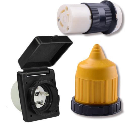 RV Power Twist Lock Plug Inlet 30amp 125V Female Locking Connector with Cover B