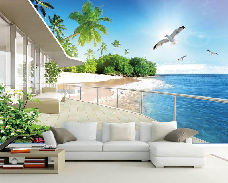 3D Seaside Sightseeing Balcony 33 Wall Paper Wall Print Decal Wall AJ Wall Paper