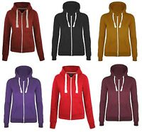NEW LADIES PLAIN ZIP HOODIE HOODED SWEATSHIRT WOMENS JACKET COAT TOP SIZES 6-14