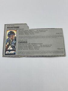 GI Joe Mainframe Main Frame File Card Cardback Only Canadian French Vintage