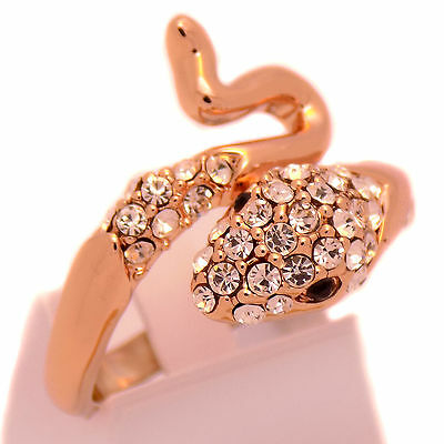 Extravagant Charm Rose Gold Plate Snake Women Ring Size 7.75 with White Crystals