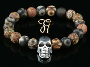 Tibet-Achat-braun-8mm-Armband-Perlenarmband-silberfarbener-Totenkopf-Skull