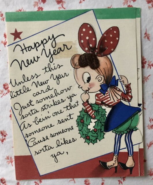 Vintage 1930s Happy New Year Greeting Card Cartoon Girl in ...