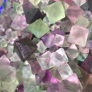 100g-Mix-Bulk-Octahedron-Fluorite-Stone-Crystal-Rainbow-Colorful-Tumbled-Stones