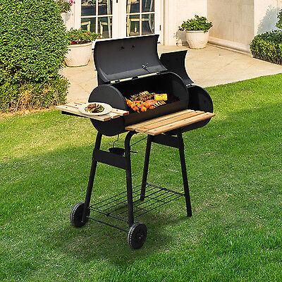 Barbacoa BBQ Grill con Carbón Termómetro Parilla Estantes de Madera Fumador
