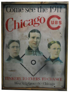 Antique-Style-1911-Chicago-Cubs-Tinker-Evers-Chance-Cubs-Sign-BEST-REPRO