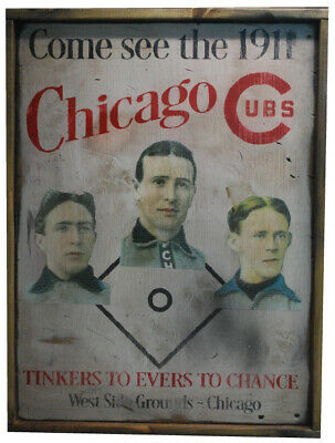 Antique Style 1911 Chicago Cubs Tinker Evers Chance Cubs Sign BEST REPRO !