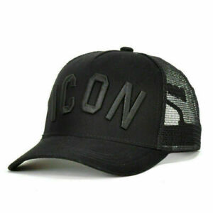 DSQ2-Dsquared2-DSQ-ICON-Dsquared-Black-Men-Trucker-CATEN-Twins-Baseball-Cap