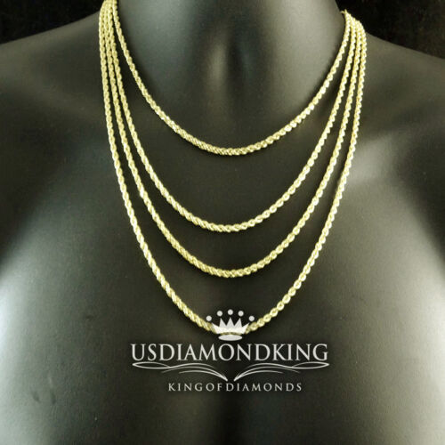 NEW MEN/'S WOMEN/'S REAL10K YELLOW GOLD HOLLOW ROPE CHAIN NECKLACE 4MM 24~28 INCH
