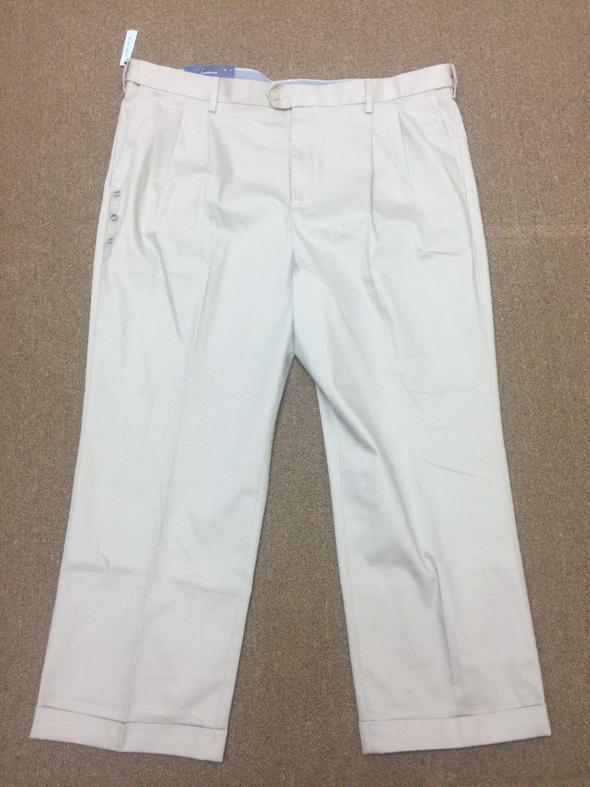 NWT  Croft & Barrow No Iron Stretch Beige Tan Pleated Khaki Classic Fit 42 x 30