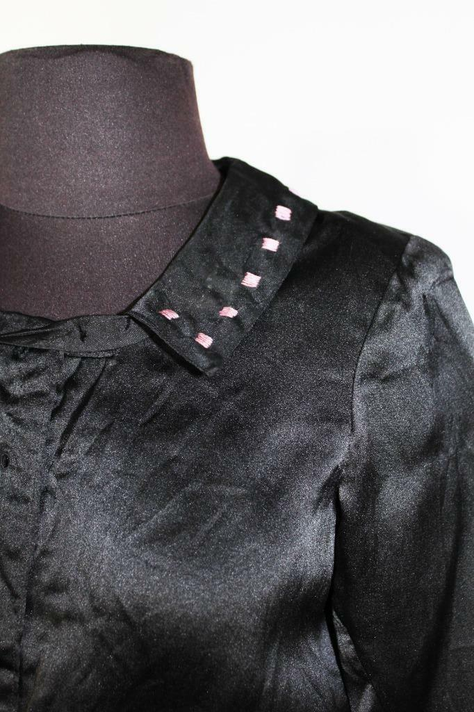 RARE FRENCH ANTIQUE EDWARDIAN BLACK EMBROIDERED S… - image 3