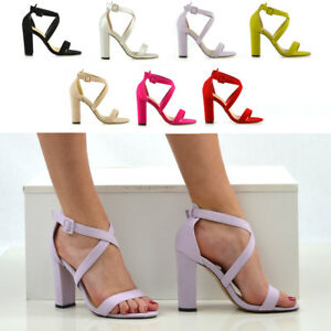 Womens-Strappy-Block-Heel-Sandals-Ladies-Peep-Toe-Party-Prom-Bridal-Shoes-Size