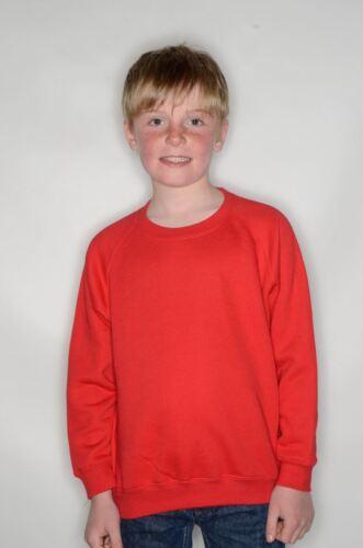 Boys Fruit of the Loom Kids Classic Raglan Sweatshirt Jumper lots of colours
