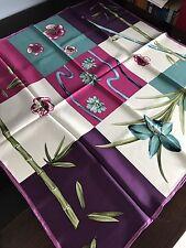 Luxury Large Square 100 % Silk Twill Scarf Fushcia Purple Head Cover Neck Wrap