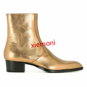 e5c62a3f27bd09 Details about Punk Mens Chelsea Boots Real Leather Gold High top Manual  Ankle Boots Shoes Boot