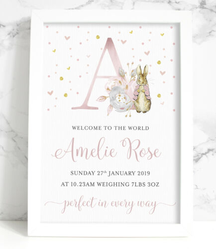 Floral Initial Pink or Blue Personalised Peter Rabbit New Baby A4 Print