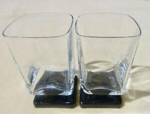 Set-2-DiSaronno-6-oz-Liqueur-Glasses-Clear-w-Black-Amethyst-Square-Pedestal-Base