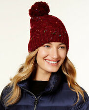 Steve Madden Speckled Cable Knit Pom Pom Top Cuffed Beanie Hat