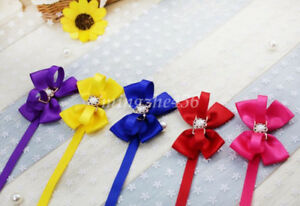 1x Pet Cat Dog Bow tie Faux Pearl With Bowknot Ribbon Bowtie Necktie Collar Deco