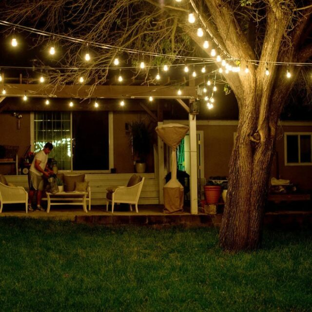 48ft Lights String Terrace Gazebo Patio 15 Dropped Socket Wedding Party Garland & Levin Ambiance Weatherproof String Light for Outdoor With 15 Dropped ...