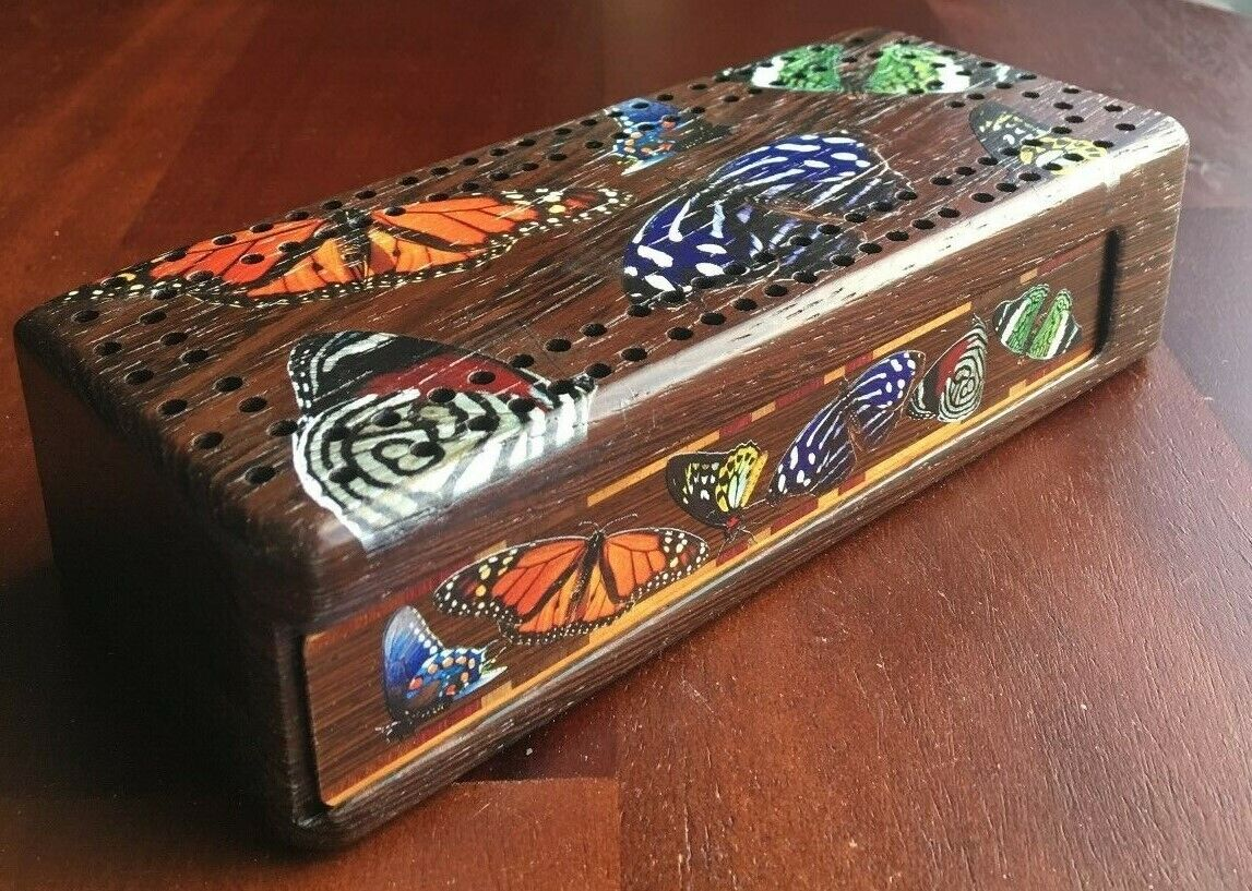 colorful Butterflies Wooden Cribbage Board with quality metal pegs & cards