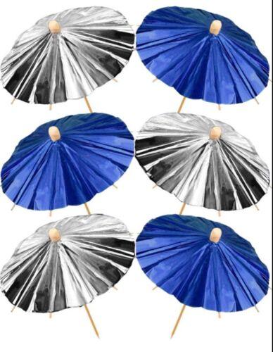12pk  Blue and Silver Foil Party Parasols Picks cocktails Celebration BBQ