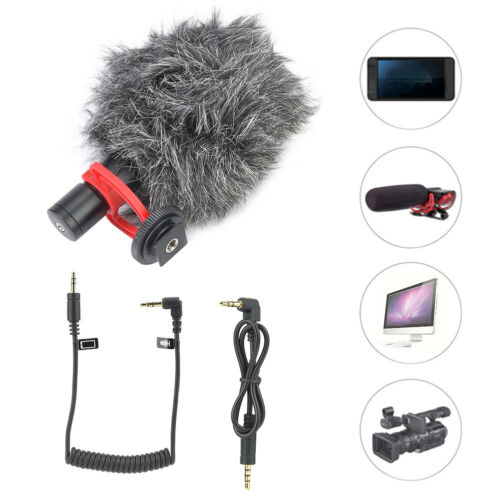 UNIVERSAL ON-CAMERA MICROPHONE W// WINDSCREEN  FOR DSLR AND SMARTPHONES COMPUTER