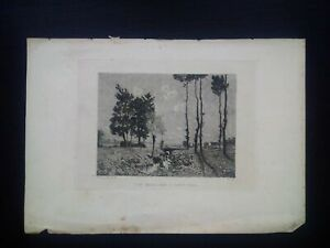 Rare Henri HARPIGNIES (1819-1916) GRAVURE EAU FORTE ORIGINALE PAYSAGE BARBIZON