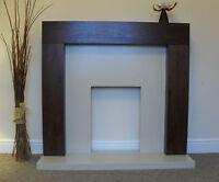Electric Mango Walnut Cream Stone Surround Fire Fireplace Suite Set Downlights