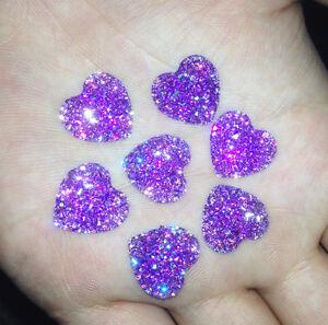 DIY-20PCS-Purple-Resin-Heart-flatback-Scrapbooking-for-phone-wedding-craft-J-6