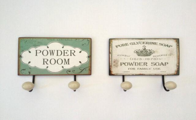 VINTAGE CERAMIC WALL HOOKS BATHROOM TOWEL DOOR HANGER SHABBY PEGS 2 DESIGNS