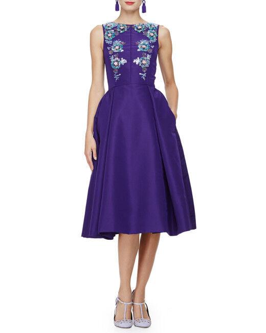 Neu Oscar De La Renta Lila Ärmellos Bateau-Neck Embellishe Kleid 0 2 4