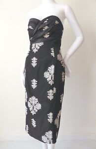 HARRY WHO Dress NEW rrp $899  Strapless Sheath Black and White Size 8 US 4