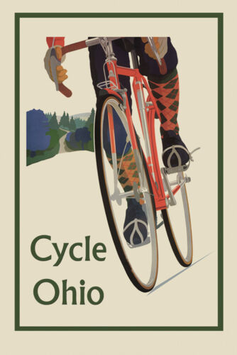 Riding Bicycle Bike Cycles Ohio Sport Travel Tourism Vintage Poster Repo FREE SH
