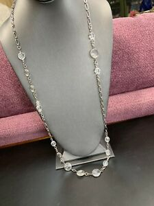 Signed Ann Taylor Long Sweater Necklace  Crystal  Beaded Silver Tone 36""
