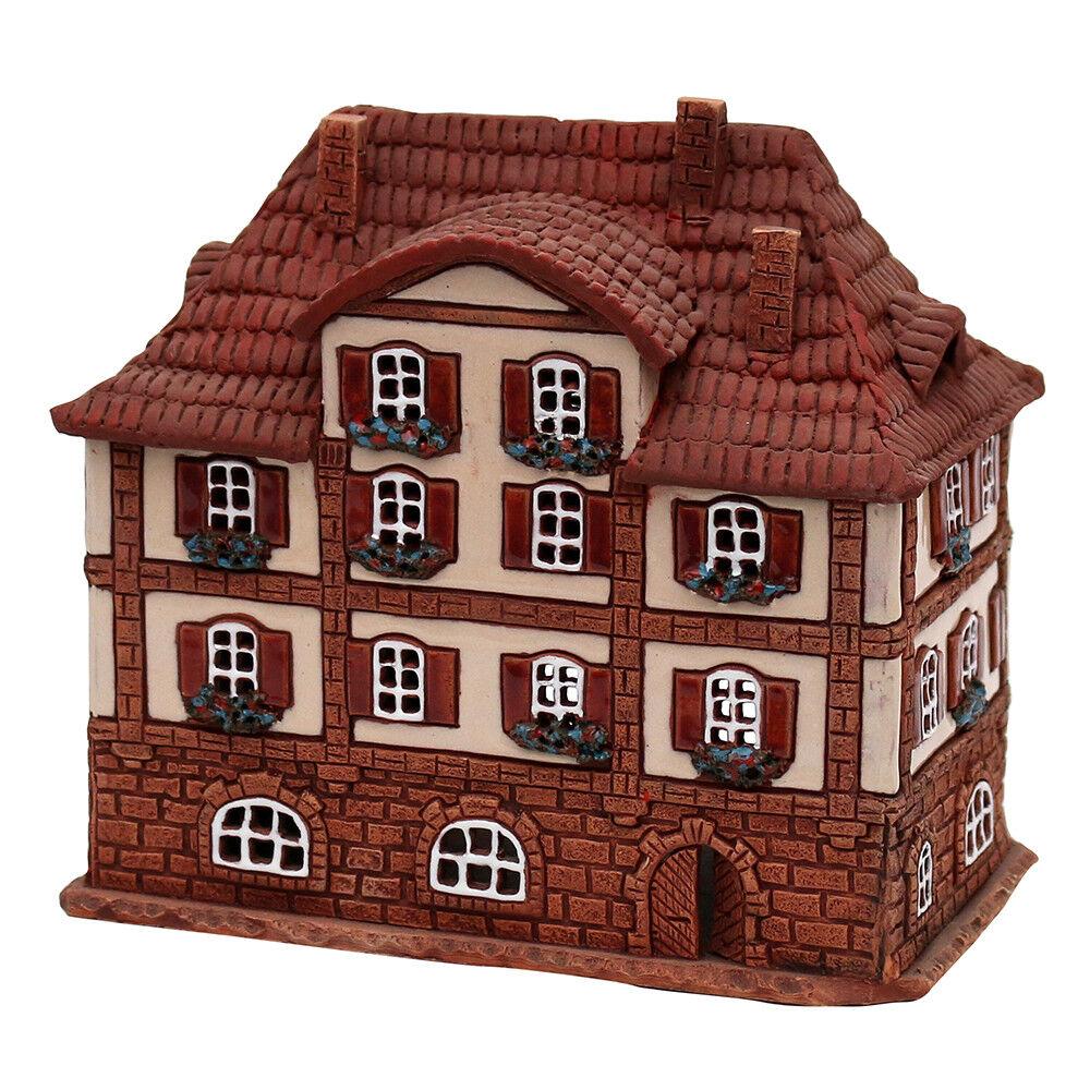 Keramik Teelichthaus Lichterhaus Marktplatz Bad MSilberheim 16  cm 40659    Bestellung willkommen